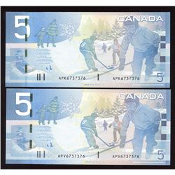 Rare Matching Number Consecutive Set - Bank of Canada $5, 2006 & 2008 Matched Number Radar Set