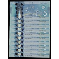 Bank of Canada $5, 2013 Polymer Radars