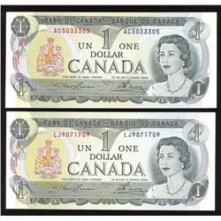 Bank of Canada $1, 1973 Radar - Three Digits - Lot of 2 Notes