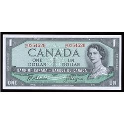 Bank of Canada $1, 1954 Radar - Four Digits