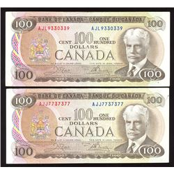 Bank of Canada $100, 1975 Radar - Lot of 2