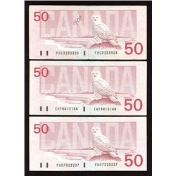 Bank of Canada $50, 1988 Radar - Lot of 3