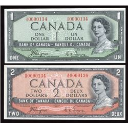 Bank of Canada $1 & $2, 1954 Devil's Face Matched Low Serial Numbered Pair