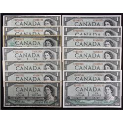 Bank of Canada $1, 1954 - Lot of 14 with Low Serial Number