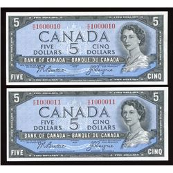 Bank of Canada $5, 1954 - Cool Serial Numbered Pair
