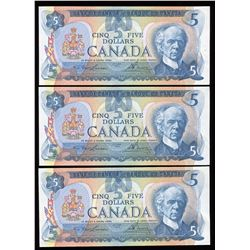 Bank of Canada $5, 1979 Low Serial Number Lot of 3