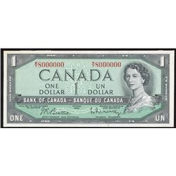 Bank of Canada $1, 1954 Million Numbered Note