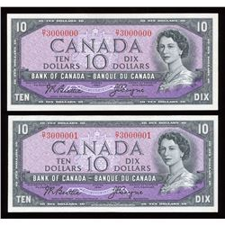 Bank of Canada $10, 1954 Million Numbered Note Plus