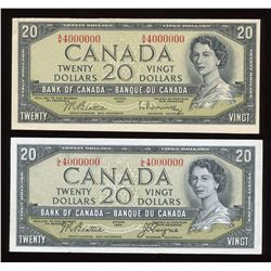 Bank of Canada $20, 1954 Million Numbered Pair