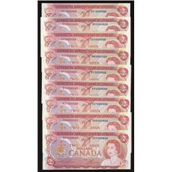 Bank of Canada $2, 1974 Million Numbered Note Complete Set - Lot of 9