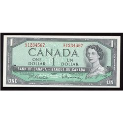 Bank of Canada $1, 1954 Ascending Ladder Serial Number