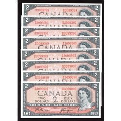 Bank of Canada $2, 1954 Dazzling Serial Numbers Lot of 8