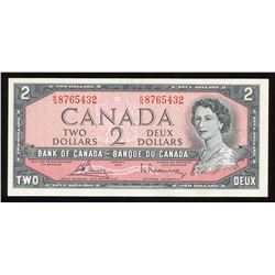 Bank of Canada $2, 1954 Descending Ladder Serial Number