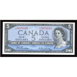 Bank of Canada $5, 1954 Ascending Ladder Serial Number