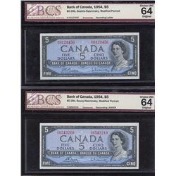 Bank of Canada $5, 1954 Ascending & Descending Serial Number Pair