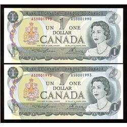 Bank of Canada $1, 1973 Birth Year Serial Numbered Notes