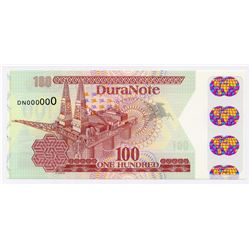 Duranote 100 Test Note - Transparent Window with Coloured Globes