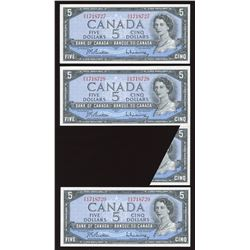 Bank of Canada $5, 1954 Cutting / Folding Error
