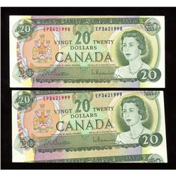 Bank of Canada $20, 1969 Error Pair