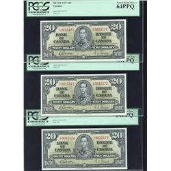 Bank of Canada $20, 1937 - Lot of 3 Consecutive Notes