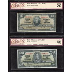 Bank of Canada $2, $20 & $100, 1937 BCS Graded Trio
