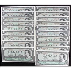 Bank of Canada $1, 1954 - Lot of 19 Replacement Notes