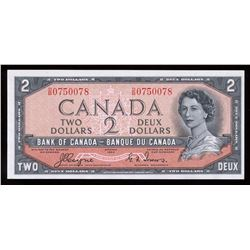 Bank of Canada $2, 1954 Devil's Face Transition Prefix