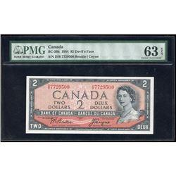 Bank of Canada $2, 1954 Devil's Face Transition Prefix