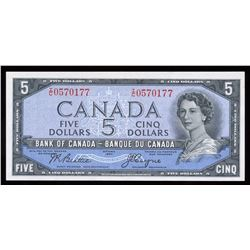 Bank of Canada $5, 1954 Devil's Face Transition Prefix
