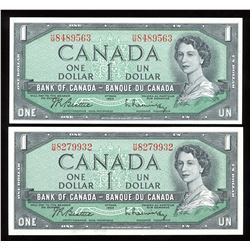 Bank of Canada $1, 1954 - Lot of 2