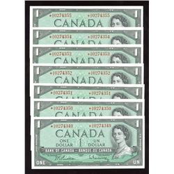 Bank of Canada $1, 1954 - Lot of 7 Consecutive Serial Number Replacement Notes