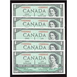 Bank of Canada $1, 1954 - Lot of 6 Consecutive Serial Number Replacement Notes