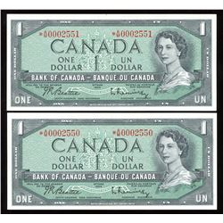 Bank of Canada $1, 1954 - Lot of 2 Consecutive Serial Number Replacement Notes
