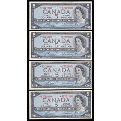 Bank of Canada $5, 1954 - Lot of 4 Consecutive Replacements