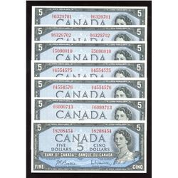Bank of Canada $5, 1954 - Lot of 7 Notes