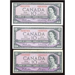 Bank of Canada $10, 1954 Replacements - Lot of 3