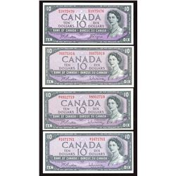 Bank of Canada $10, 1954 - Lot of 4