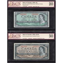 Bank of Canada $1 & $100, 1954 - Lot of 2 BCS Graded Notes