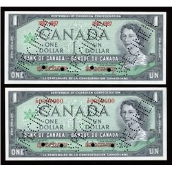 Bank of Canada $1, 1967 Specimens - Lot of 2