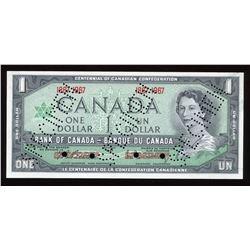 Bank of Canada $1, 1967 Specimen