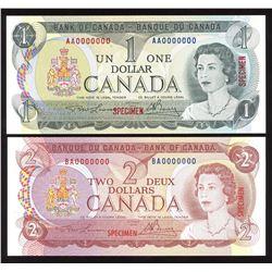 Bank of Canada $1, 1973 & $2, 1974 Specimen Pair