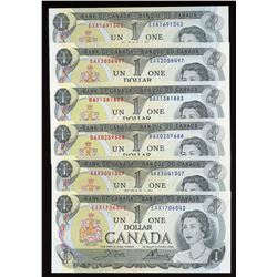 Bank of Canada $1, 1973 Replacement/Test Notes - Lot of 6