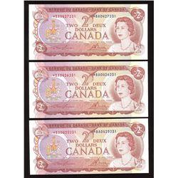 Bank of Canada $2, 1974 Replacements - Lot of 3