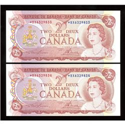Bank of Canada $2, 1974 Replacements - Lot of 2
