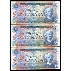 Bank of Canada $5, 1972 Lot of 3 Consecutive Notes