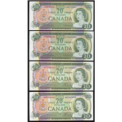 Bank of Canada $20, 1969 - Lot of 4