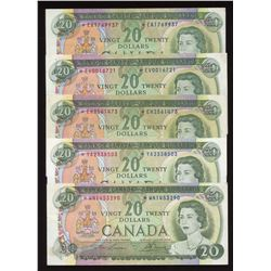 Bank of Canada $20, 1969 Replacements - Lot of 5