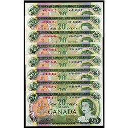 Bank of Canada $20, 1969 - Lot of 8