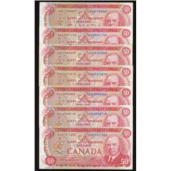 Bank of Canada $50, 1975 - Lot of 7