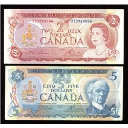 Bank of Canada $2, 1974 & $5, 1979 Test Notes